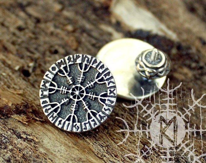 NEW ITEM! ~ Sterling 925 Silver Aegishjalmur Helm of Owe Futhark Runes Odin Nordic Amulet Earring