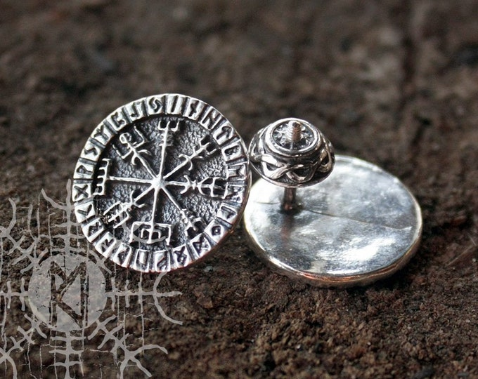 NEW ITEM! ~ Sterling 925 Silver Vegvisir Futhark Runes Odin Nordic Amulet Earring