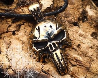 Punisher Skull, Skull Necklace, Skull Pendant, Punisher Pendant, Gothic Skull, Bronze Necklace