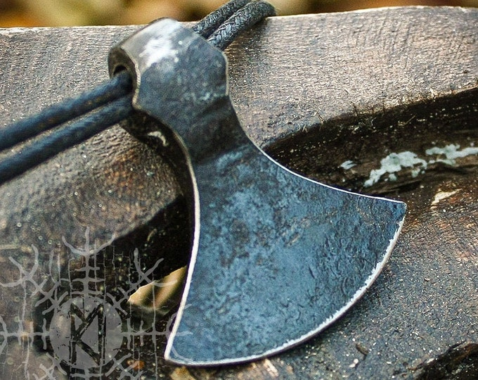 Forged Iron Viking Sekira Nordic Double Edge Axe Blade Handmade Pendant Necklace