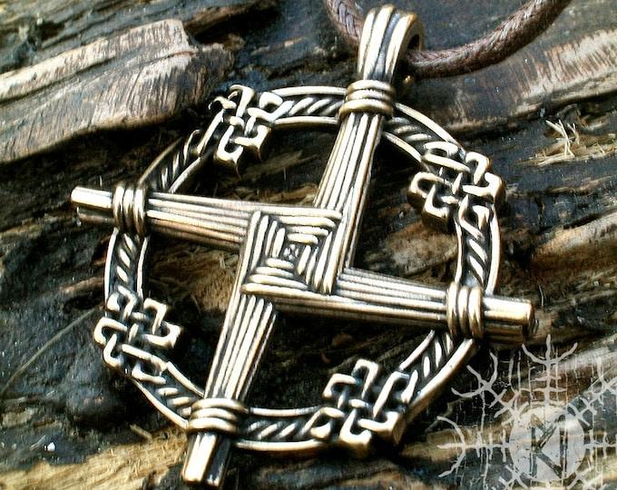 Irish Cross, Brigid's Cross, Bronze Celtic Cross, Brighid's Cross, St Brigit's Cross, Irish Talisman Pendant, Celtic Necklace