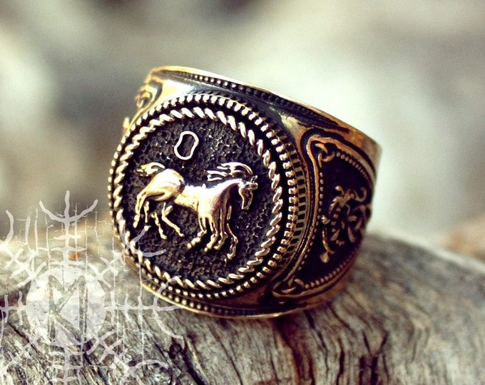 NEW ITEM! ~ Bronze Sleipnir Odin Steed Horse Viking Rune Nordic Amulet Adjustable Ring