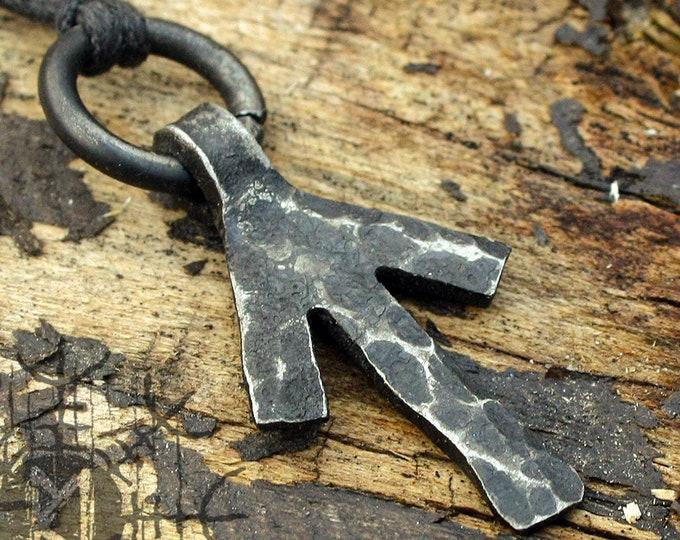 Forged Iron Tiwaz Tyr Tiw Rune Viking Amulet Runic Nordic Flat Pendant Talisman Necklace