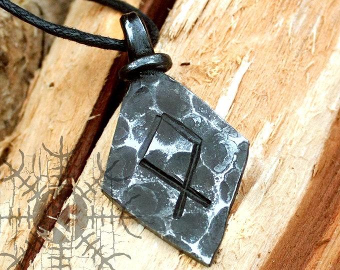 Forged Iron Othala Odal Rune Viking Amulet Runic Nordic Pendant Talisman Necklace