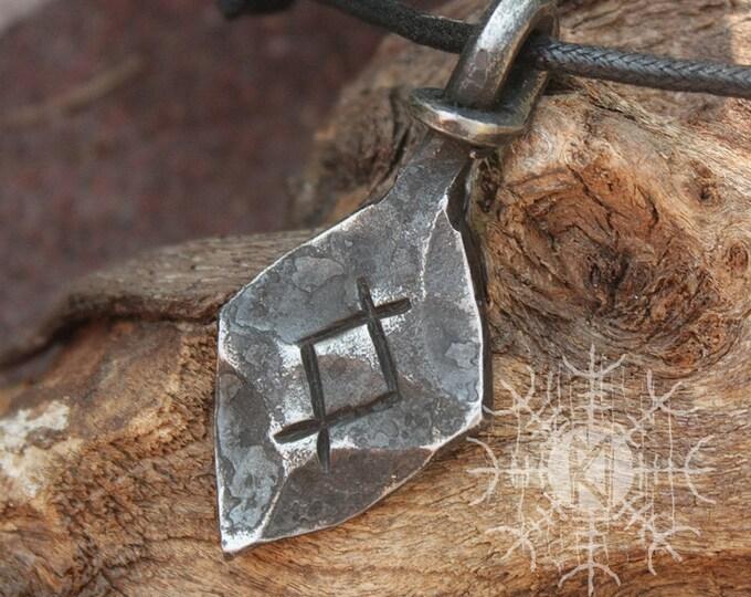 Forged Iron Inguz Ingwaz Yngvi Rune Viking Amulet Runic Nordic Pendant Talisman Necklace