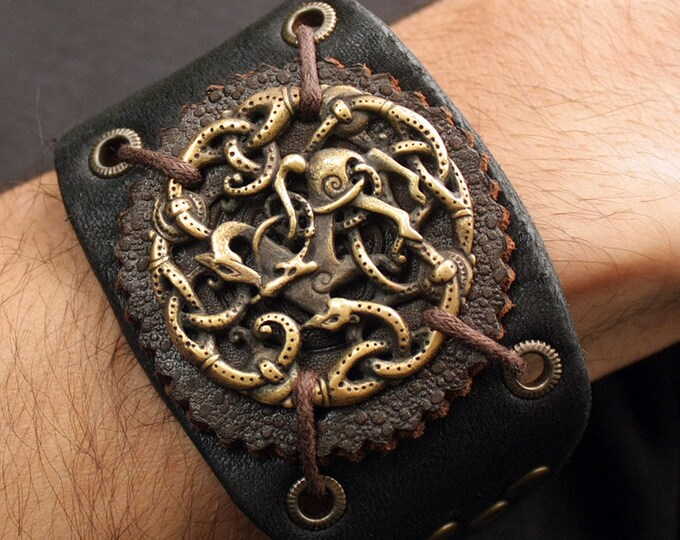 Viking Bracelet Vikings Symbol Balance of Powers 3D Amulet Leather Bracelet Talisman Pendant Necklace