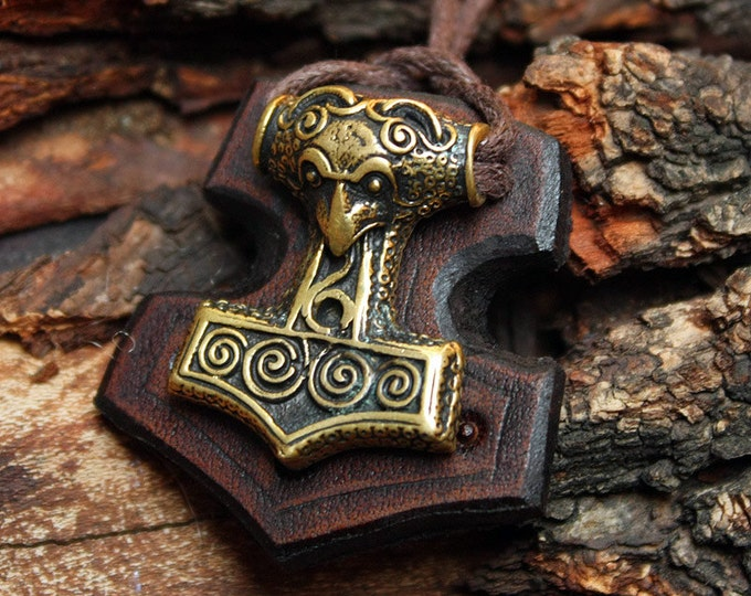 Bronze Thor's Hammer Raven Bird Mjolnir Viking Nordic Pendant Leather Necklace BM5
