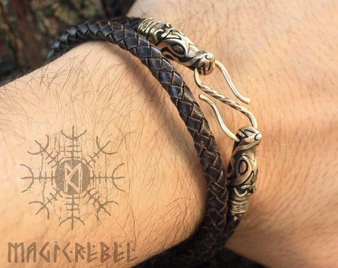 Viking Bracelet Genuine Leather Double Loop Bracelet Bronze Wolf Heads Braided Round Three Colors WHB8