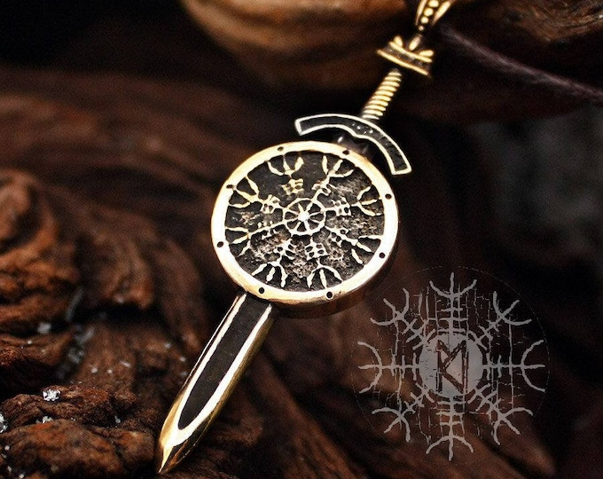 Viking Vegvisir Aegishjalmur Sword and Shield Protection Amulet Nordic Pagan Pendant