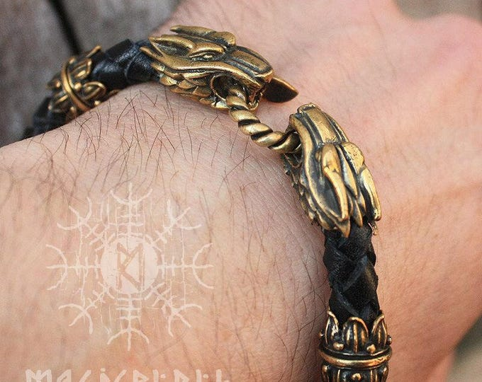 Bracelet Wolf Heads Handmade Braided Genuine Leather Bracelet WHB1blk