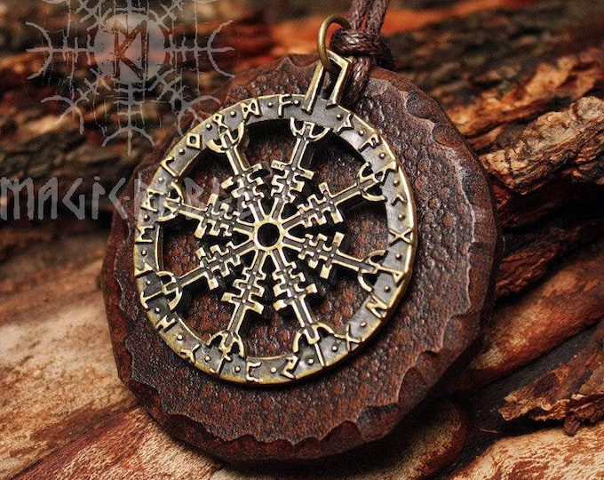 Bronze Aegishjálmur Icelandic Stave Futhark Helm of Awe Vikings Amulet Nordic Talisman Leather Pendant Necklace