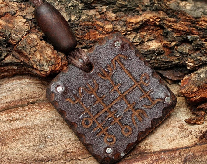 Heilla Hnutur Nordic Runic Viking Good Luck Symbol Leather Pendant Necklace