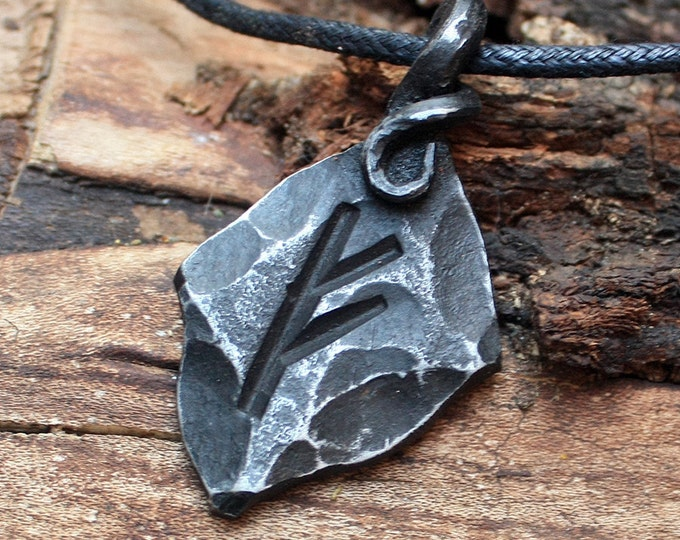 Forged Iron Fehu Feoh Fe Rune Viking Amulet Runic Nordic Pendant Talisman Necklace