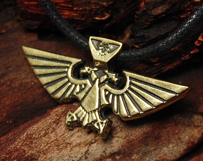 Aquila Imperial Eagle Space Marines Video Game Brass Pendant Necklace