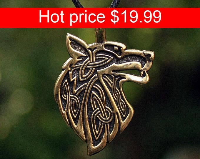 Bronze Wolf Head Celtic Fenrir Double sided Pendant Talisman Necklace