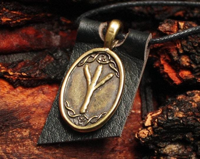 Bronze Algiz Elhaz Yr Rune Yggdrasil Viking Amulet Runic Nordic Pendant Talisman Necklace