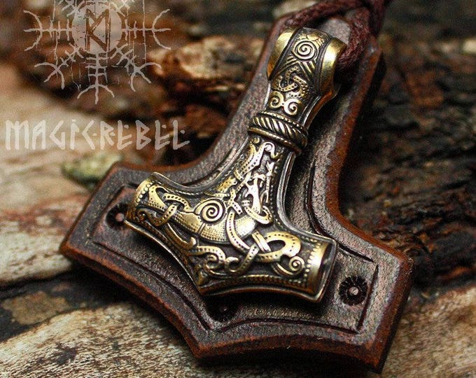 Bronze Thor's Hammer Mjolnir Vikings Amulet Nordic 3D Pendant Leather Necklace BM1