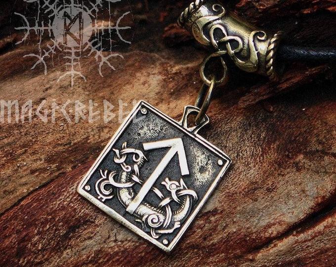 Teiwaz Tyr Tiw Rune Talisman Nordic Runic Amulet Pendant Necklace Bronze