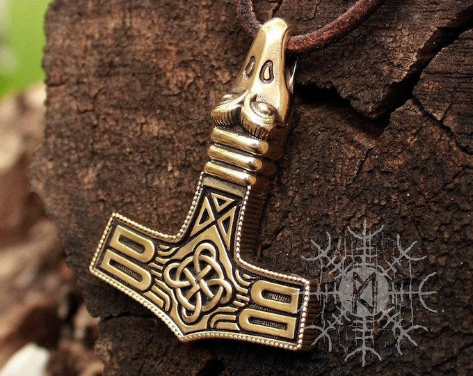 Mjolnir Pendant Thor Hammer Avian Eagle Head Viking Nordic Pendant Necklace BM6 Bronze