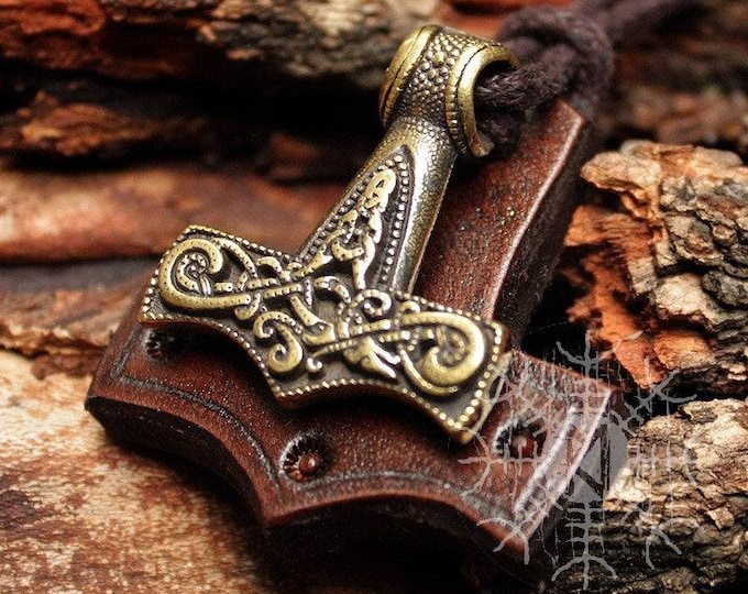 Bronze Thor's Hammer Mjolnir Viking Nordic 3D Pendant Leather Necklace BM3