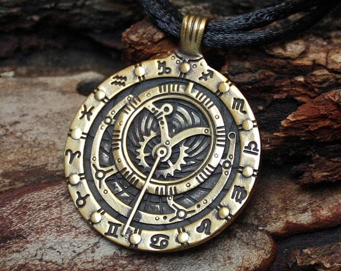 Bronze Astrolabe Inclinometer Astronomy Zodiac Pendant Necklace