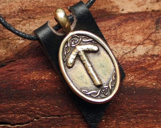 Bronze Tiwaz Tyr Tiw Yggdrasil Rune Viking Amulet Runic Nordic Pendant Talisman Necklace
