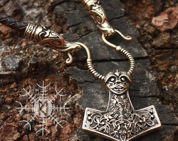 Viking Mjolnir Viking Thor's Hammer Nordic 3D Pendant Wolf Heads Braided Leather Cord Necklace Bronze BM7