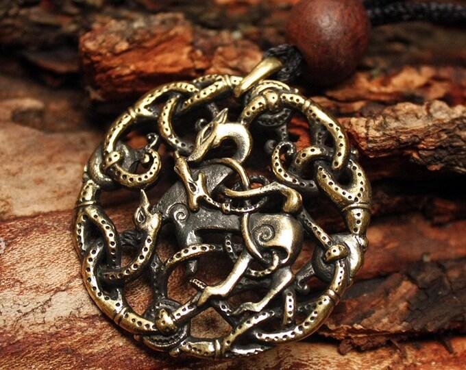Bronze Vikings Symbol Balance of Powers 3D Amulet Nordic Talisman Pendant Necklace