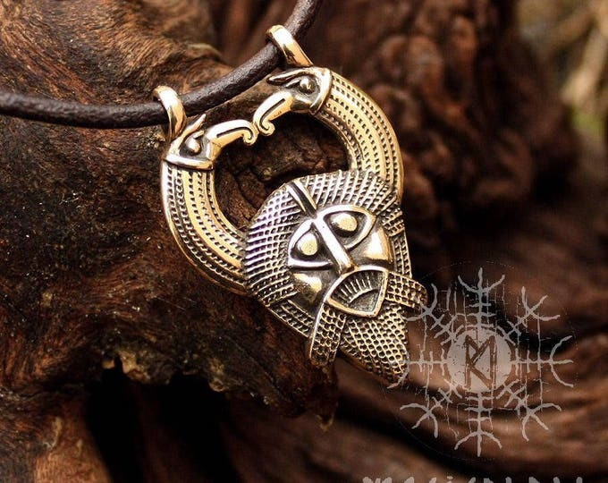 Odin Pendant Viking Norse God Huginn Muninn Ravens Gungnir Rune Gar Spear Bronze Necklace
