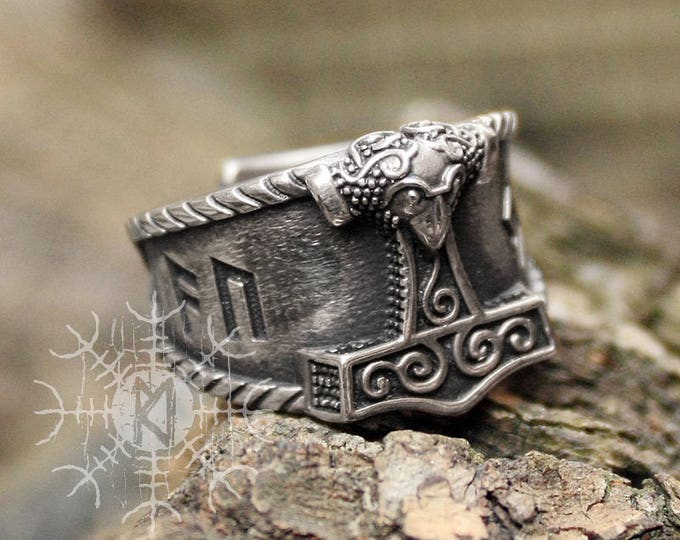 Silver Viking Ring AUJA Good Luck Rune Set Mjolnir Thor Hammer Nordic 3D Adjustable Size Ring