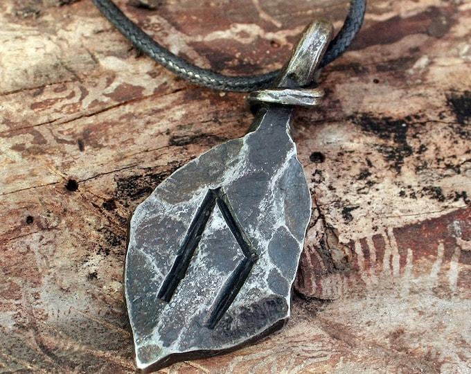 Forged Iron Uruz Ur Uram Rune Viking Amulet Runic Nordic Pendant Talisman Necklace