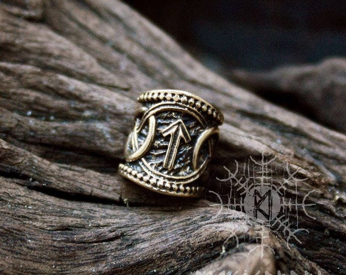 Viking Runes Bead Bronze Teiwaz Algiz Nordic Viking Handmade Hair Beard Dreadlocks Ring