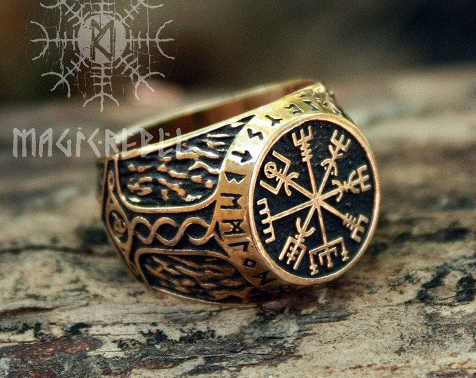 Viking Ring Vegvisir Futhark Runes Compass Magic Stave Nordic Adjustable Size Bronze