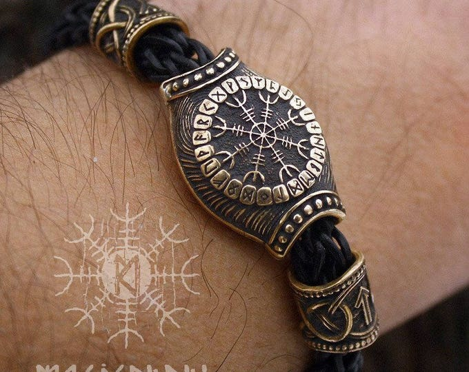 Viking Runes Bracelet Compass Vegvisir Aegishjalmur Futhark Bronze Beads Wolf Heads Handmade Braided Genuine Leather Cuff WHB9blk
