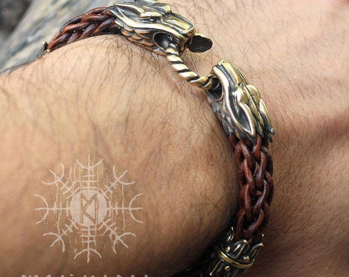 Viking bracelet Wolf Heads Handmade Braided Brown Round Genuine Leather Bracelet WHB3brn