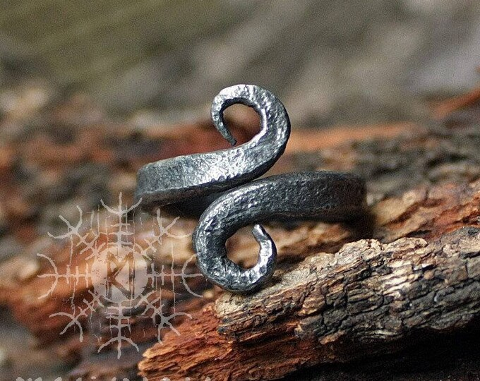 Forged Iron Jormungandr Handmade Serpent Infinity Symbol Viking Nordic Ring