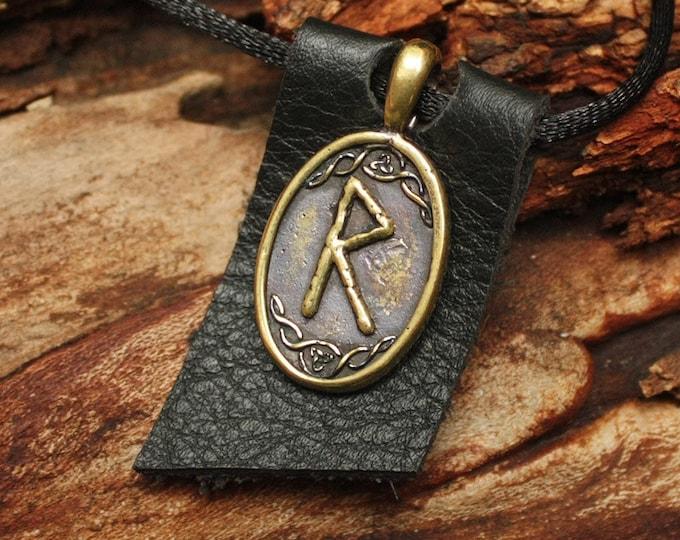 Bronze Raido Rad Rune Yggdrasil Viking Amulet Runic Nordic Pendant Talisman Necklace