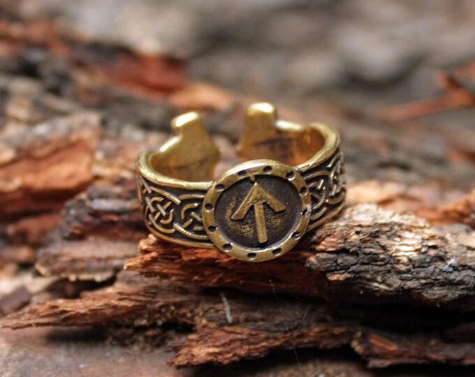 Viking Ring Tiwaz Sowilo Runes Mjolnir Thor Hammer Bronze Amulet Runic Nordic Adjustable size