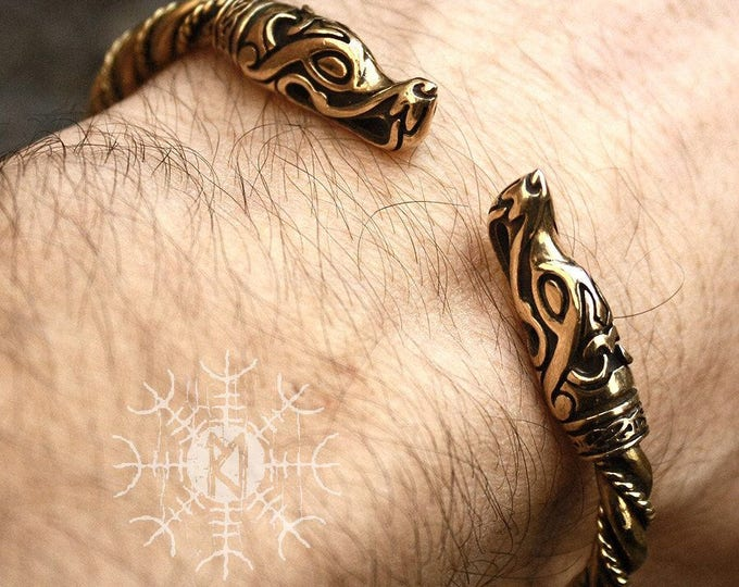 Viking Bracelet Wolf Heads Ragnar Handmade Nordic Brass Twisted Wire Arm Ring