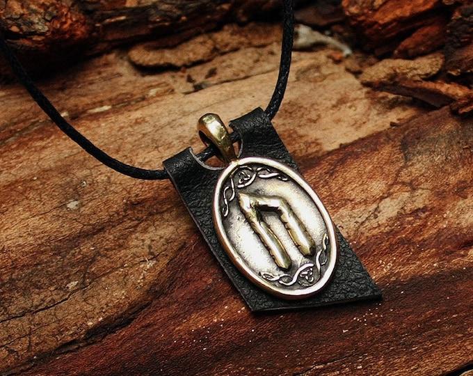 Bronze Uruz Ur Uram Rune Yggdrasil Viking Amulet Runic Nordic Pendant Talisman Necklace