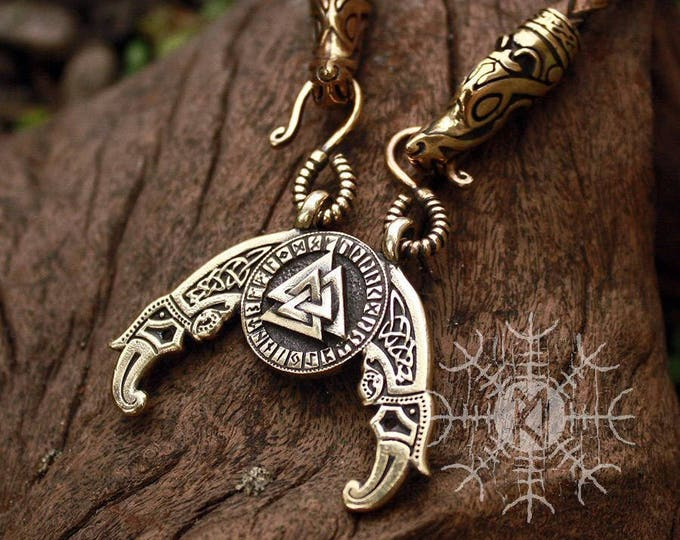 Viking pendant Valknut Futhark Odin Triple Horn Triskele Ravens Huggin Munnin Vikings Pendant Wolf Heads Leather Necklace Bronze