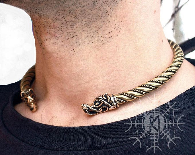 Viking Wolf Head Fenrir Torc Neck Ring Ragnar Handmade Heavy Twisted Brass Wire Pagan Norse