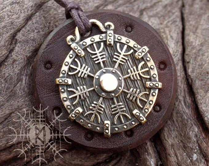 Viking Pendant Helm of Awe Aegishjálmur Icelandic Bronze Amulet Nordic Runic Talisman Necklace