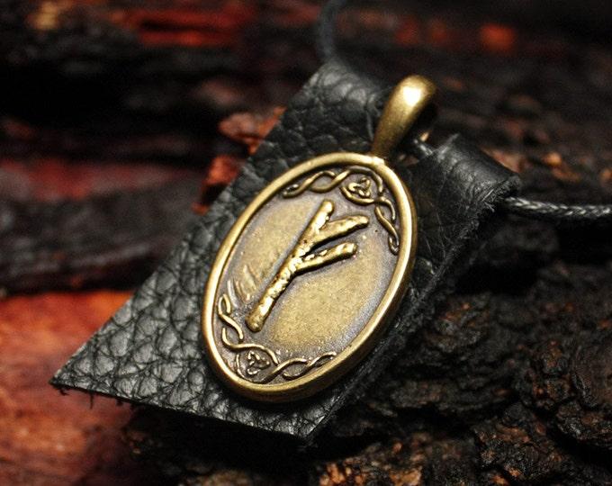 Bronze Fehu Feoh Fe Rune Yggdrasil Viking Amulet Runic Nordic Pendant Talisman Necklace