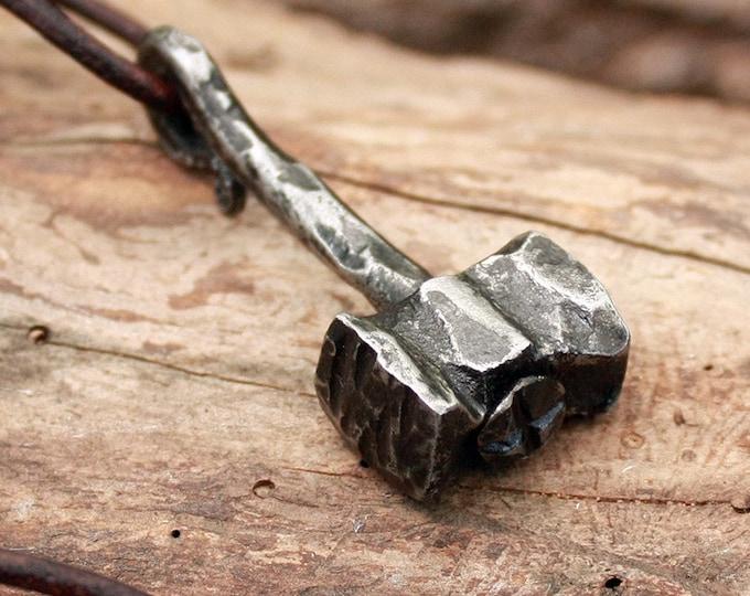 Forged Iron Handmade Viking Heavy Thor Hammer Mjolnir Hunting Tool Pendant FM3