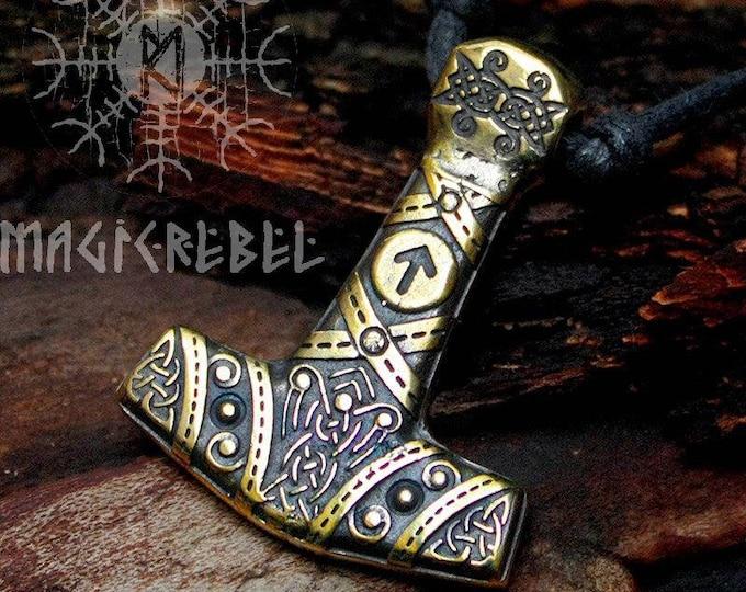 Bronze Thor's Hammer Tiwaz Rune Mjolnir Viking Nordic 3D Pendant Necklace BM4