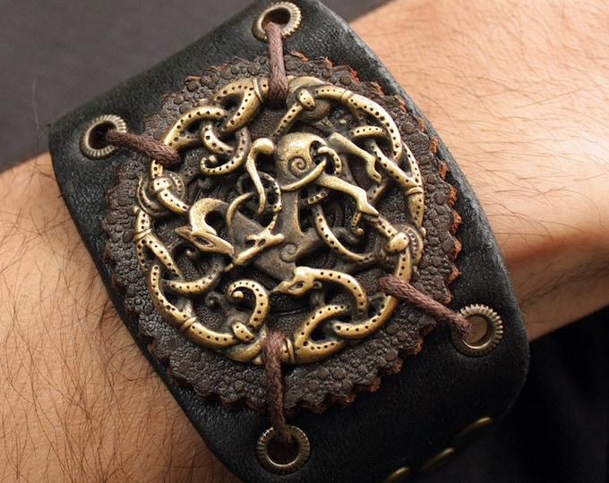 Viking Bracelet Vikings Symbol Balance of Powers 3D Amulet Leather Bracelet Talisman Pendant Necklace