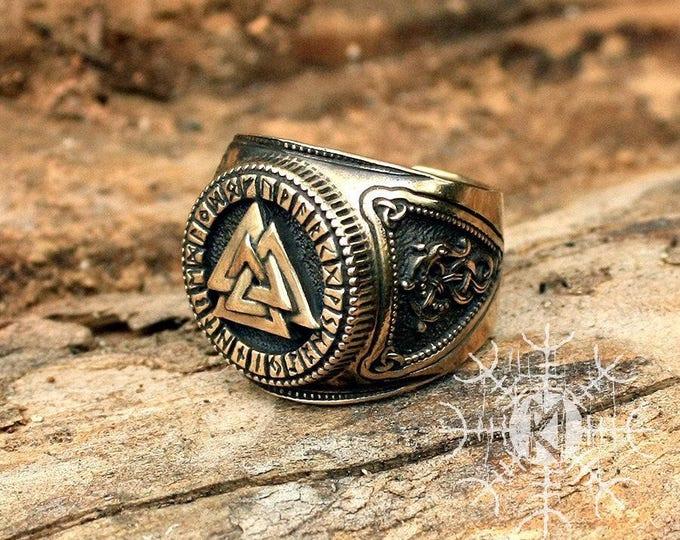 Bronze Valknut Futhark Runes Odin Nordic Amulet Adjustable Size Ring