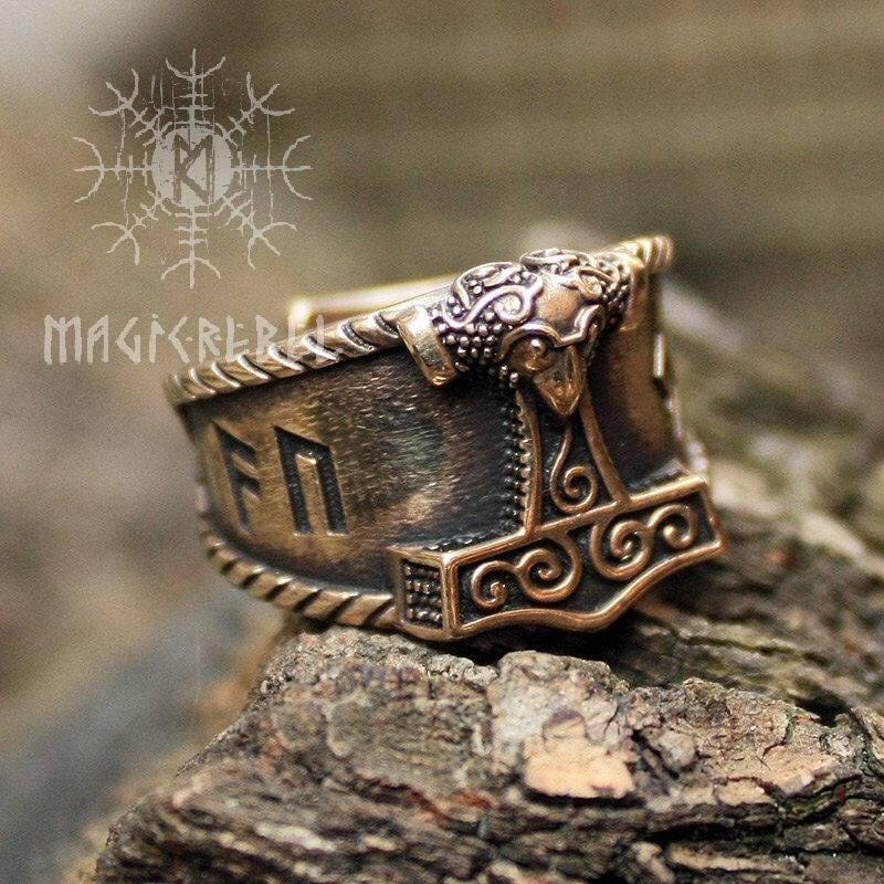 Viking Ring Bronze AUJA Good Luck Runes Mjolnir Thor