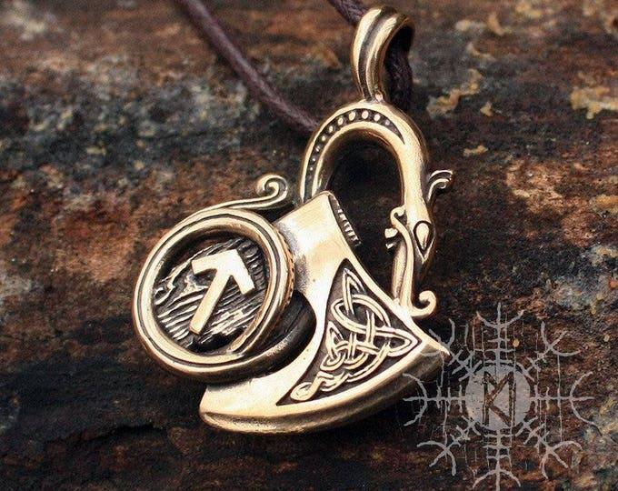 Viking Sekira, Viking Axe, Dragon Pendant, Tiwaz Rune Necklace, Nordic Necklace, Scandinavian Amulet, Bronze Necklace Pendant Necklace